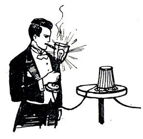 Рис. 121. Прикуривание сигары от горящей электролампочки